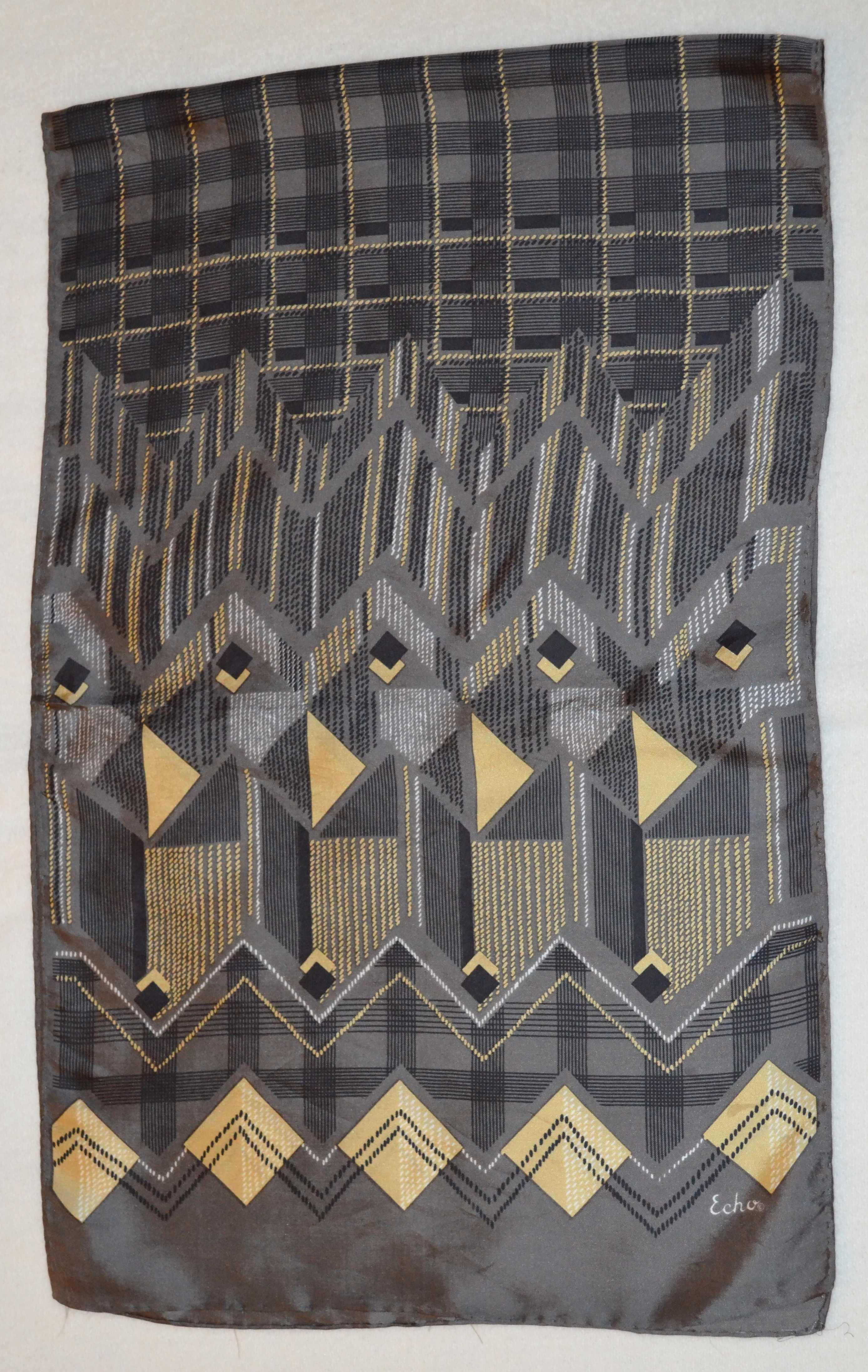 ECHO GRAY BLACK & GOLD SILK SCARF