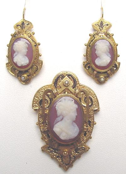 CAMEO PIN EARRING SET- SARDONYX