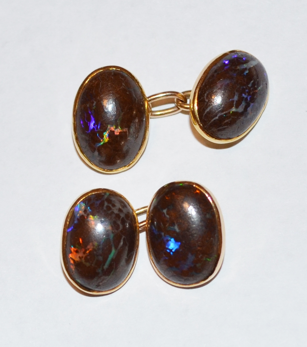 BOULDER OPAL & GOLD CUFF LINKS