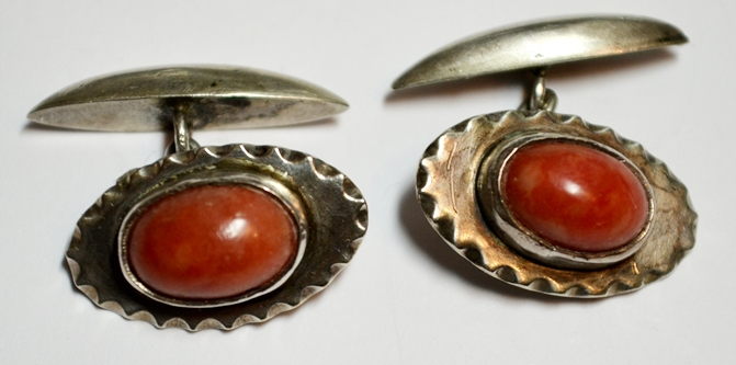 CORAL & STERLING VINTAGE CUFF LINKS