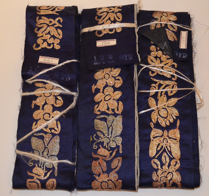 19TH, CENTURY EMBROIDERED BORDER BANDS