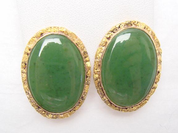 Jade Gold Earrings Larger Image