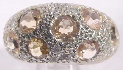 CITRINE & DIAMOND BOMBE RING